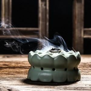 汝窑莲花香炉陶瓷线香盘香佛教摆件 小 摆件