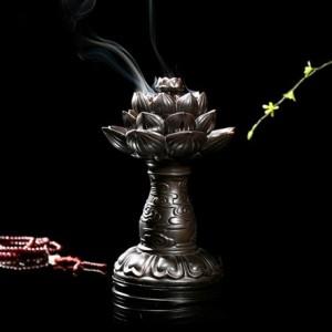高档陶瓷莲花盘香炉佛具摆件 中 摆件