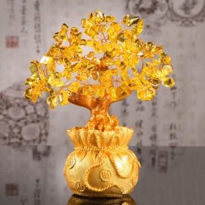 招财树发财树摇钱树风水摆件 黄色 摆件