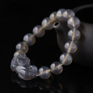 天然灰玛瑙貔貅手链 10mm 手链