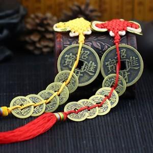 五帝钱纯铜大铜钱一对中国结挂件 招财进宝 一对 摆件