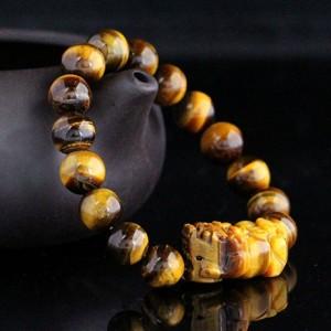 天然黄虎眼石貔貅手链 14mm 手链
