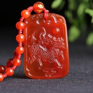 红玛瑙招财火麒麟护身吊坠 吊坠 红玛瑙