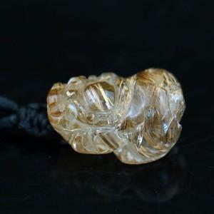 天然钛晶貔貅吊坠  吊坠 钛晶