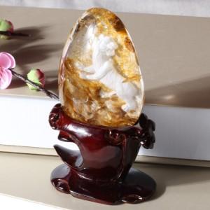 天然白水晶百兽之王摆件 9.9*7.3*3.8cm 摆件