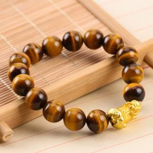 天然黄虎眼石镀金貔貅手链 12mm 手链
