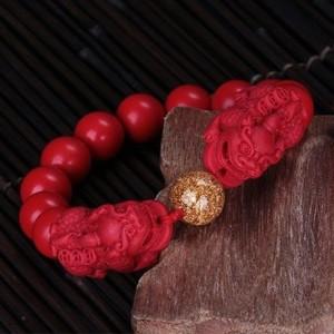 精雕红朱砂古龙貔貅手链 14mm 手链