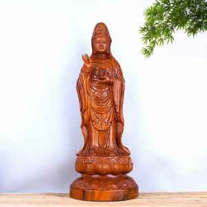 非洲花梨木雕南海观世音菩萨法轮莲花座摆件  佑平安 10024 观世音摆件 摆件